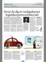 I Svenska dagbladets intervju med Nina ligger fokus på hur vardagslivets utmaningar kan hanteras med logistiktänk. Hur tacklar du matplaneringen, bilköer, att din planerade träning aldrig blir av och att tvättberget växer hemma? Nina visar i intervjun att logistiktänket kan appliceras både på vardagslivet och arbetslivet.
